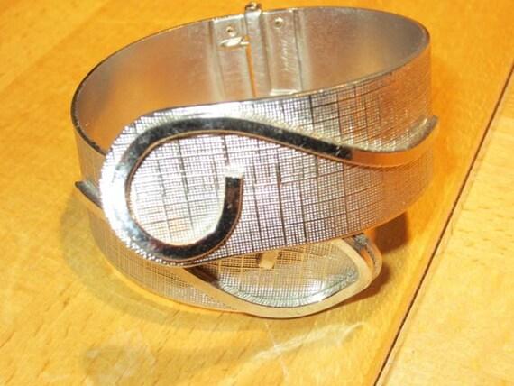 RESERVED SALE Vargas Textured Silver Clamper Bracelet