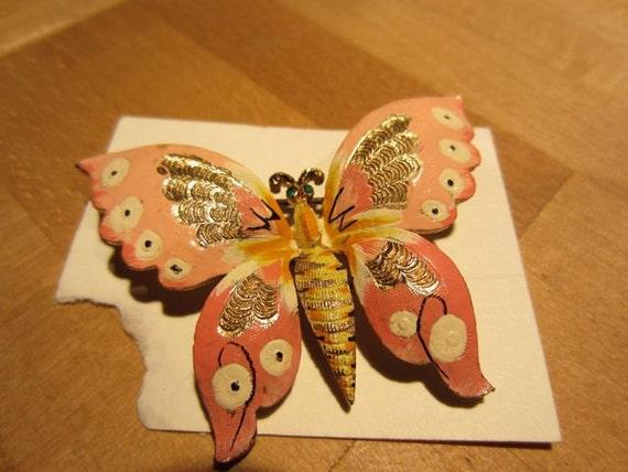 SALE Rare Coro Handpainted Butterfly Brooch