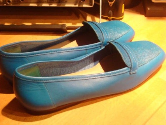 SALE Teal Turquoise Leather Enzo Flats