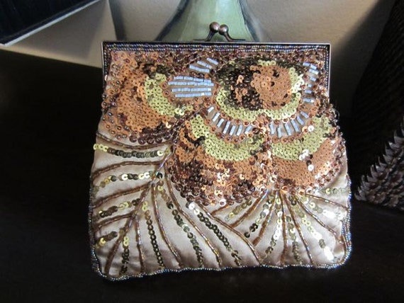 Beautiful Silky Sequined Beaded Purse or Clutch