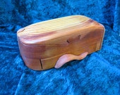 Redwood puzzle jewelry box with drawer and lift out tray