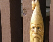 hand carved wizard head basswood walking stick, 56 inches tall