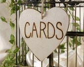 Wood Heart Reception Cards Sign