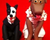 Handmade Custom Bride & Groom Pets Wedding Cake Topper