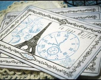 Blue Romance Paris Postcard Style Card Set of 4