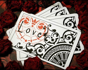 Love Design Post Card Sized Card  Set of 4