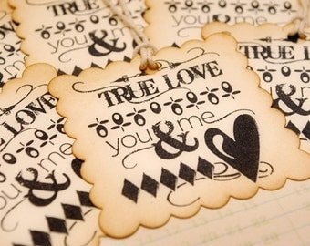 Scalloped Edge Square Vintage Tags  True Love You and Me Set of 6