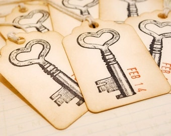 Custom Vintage Wedding Any Occasion Skeleton Key Tags Set of 6 Add Your Date