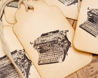 Don't Forget to Write Vintage Typewriter Hand Stamped Tags Set of 6