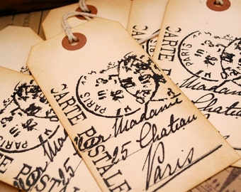 Postmarked Paris Large Hand Stamped Vintage Style Tags Set of 6