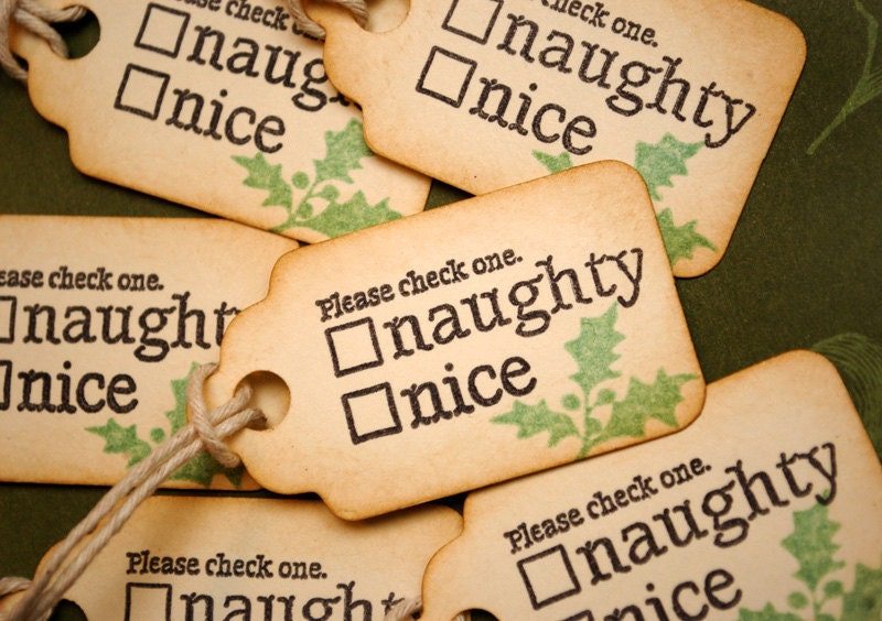 Nice Tag: Cute Naughty Or Nice Vintage Inspired Gift Tags With By