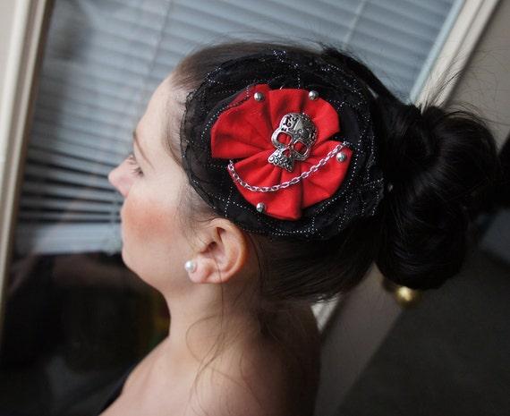 Olivia Paige -  Rockabilly Pin up Cameo13 skull hair clip