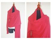1980s Vintage Dark Red Wrap Cardigan Cotton size M