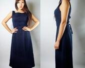 WoozWass Vintage 60s Mid-night blue/navy blue Scoop neck Maxi Dress Size S-M,M