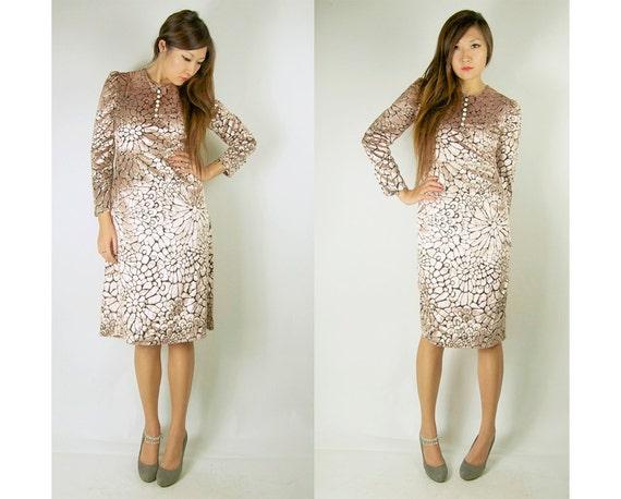 WoozWass VIntage 1960S Japanese Metallic Velvet Floral Pink Dress Size M