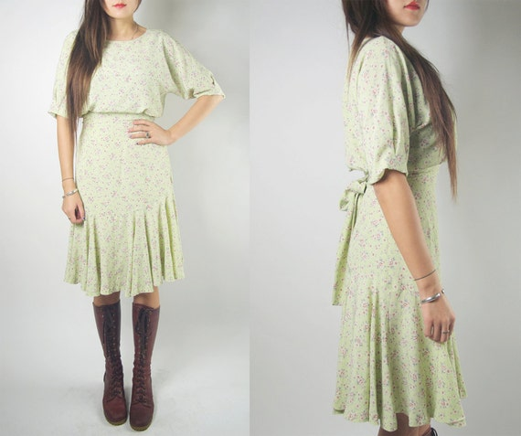 WoozWass Vintage Light Tea Green Floral Fish Tail Dress