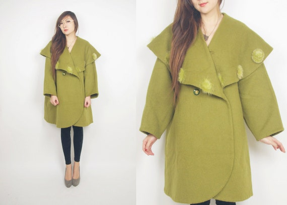 WoozWass Vintage Japanese 1970s Mustard/ grass green Big Shawl Collar Oversized Chunky Wool Coat with Fur Pompoms