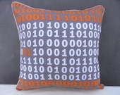 FREE SHIPPING Set of Two 16x16 Pillow Covers Pillow Case Cushion Case Cotton Canvas Orange and Gray Binary Code with Golden Bordure READY TO SHIP