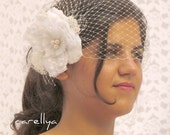 Bridal Head Piece With BIrdcage Netting  - Wedding White Lace Flower With Pearls - Bridal Hair Clip With Veil