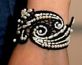 Black and White  Vintage Style Hand Embroidered Bracelet