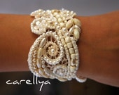 BRIDAL CUFF BRACELET Ivory Pearl Lace Cuff Wedding Cuffs beaded Bride Jewelry -  Dafna