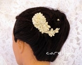 Wedding Lace Headpiece With Pearls  - Cream Lace Bridal Hair Fascinator - Bridal Hair Pieces