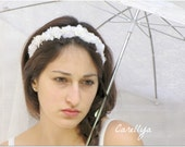 Bridal Floral Head piece - Flower Head Wreath - White Wedding Crown - LIAD - carellya