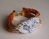 Ombre Knitted Knot Bracelet - Lilac & Rust