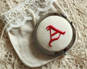 hand-embroidered pocket compact mirror MADE TO ORDER---gift for bridesmaid