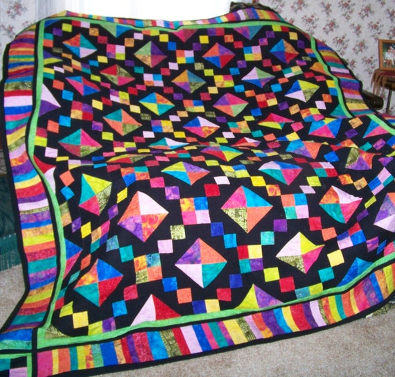 Double Bed Quilt - bright buckeye beauty
