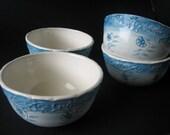 Set of four cornflower bowls
