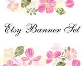Premade Etsy Shop Banner Avatar Set - pink flowers etsy banner set - no211