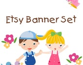 Premade Etsy Shop Banner Avatar Set - little boy and girl with flower and butterfuly etsy banner set - no244