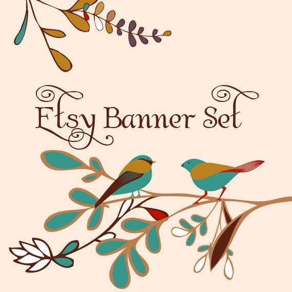 Premade Etsy Shop Banner Avatar Set - simple vintage bird Magpie etsy banner set - no301