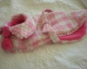 Spring Easter dog coat pink and white plaid with pink fleece lining