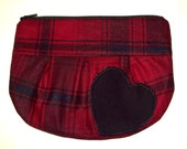 Red Black Heart Plaid Makeup Pouch Bag LOVE luv
