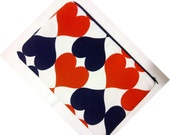 Red Blue White Hearts Print Ipad 2 Case Cover Sleeve tablet pc Holder Bag