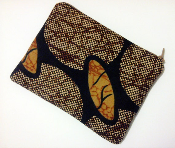 African Geometric Print Brown Black Makeup Pouch Bag