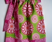 Girls pillowcase dress Gypsy Bandana in Lime Kaleidoscope sizes 6 month- 4T by Baby Harrill