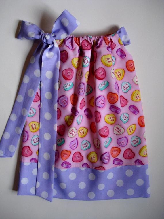 Sale girls pillowcase dress Conversation hearts pillowcase dress for Valentine's Day