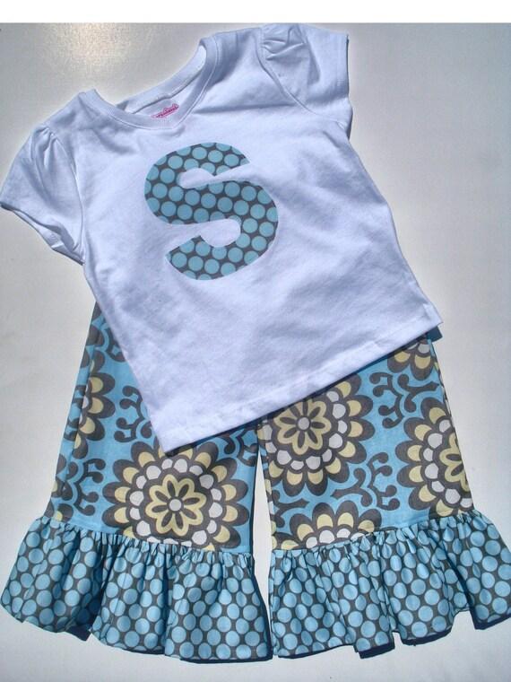 Girls Ruffle Pants or Capris & Tee or Onesie set in Wallflower by Baby Harrill