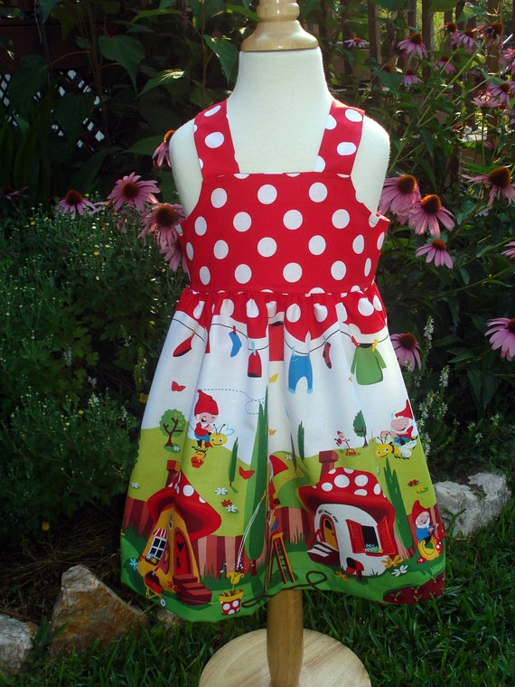 Girls Reverse Knot Dress in Gnomeville size 12 month- 4T by Baby Harrill