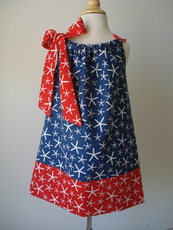 Girls Pillowcase Dress Going Coastal Star Fish, Michael Miller fabric by Baby Harrill