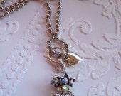Silver and Fleur de Lis Pendant Necklace