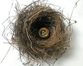 Bird Nest Pin with Three Eggs