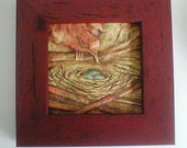 Framed 4x4 Bird and Nest Ceramic Tile with Three Turquoise Eggs (3.10) Deep Red
