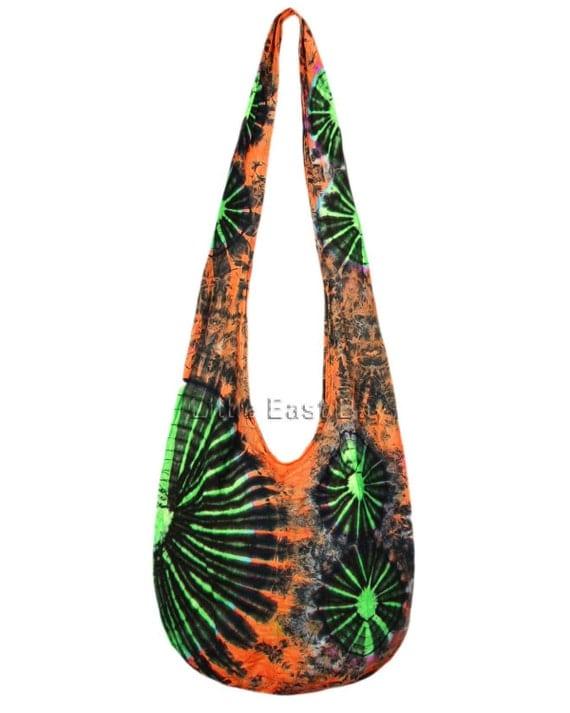 Large Orange Green Star Bursts Hippie Hobo Mudmee Tie Dye Sling Crossbody Bag Purse S9