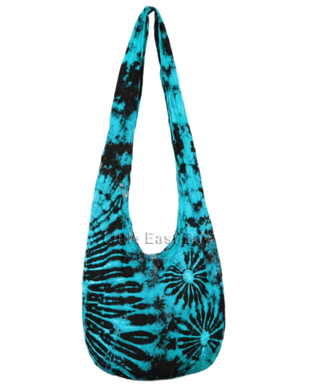 hippie hobo tie dye turquoise sling crossbody bag purse t2