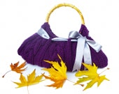 Purple-Violet-Amaranth Knitted Hand Bag-Bamboo Handle