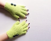 Green Fingerless and Button Hand Knitted